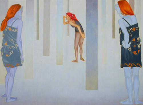 W poszukiwaniu Czerwonego Kapturka, 110x150, olej napłótnie, 2009